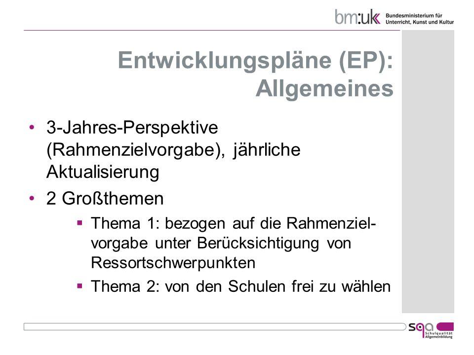 Entwicklungspläne (EP): Allgemeines 3-Jahres-Perspektive (Rahmenzielvorgabe), jährliche Aktualisierung 2 Großthemen Thema 1: bezogen auf die Rahmenzie