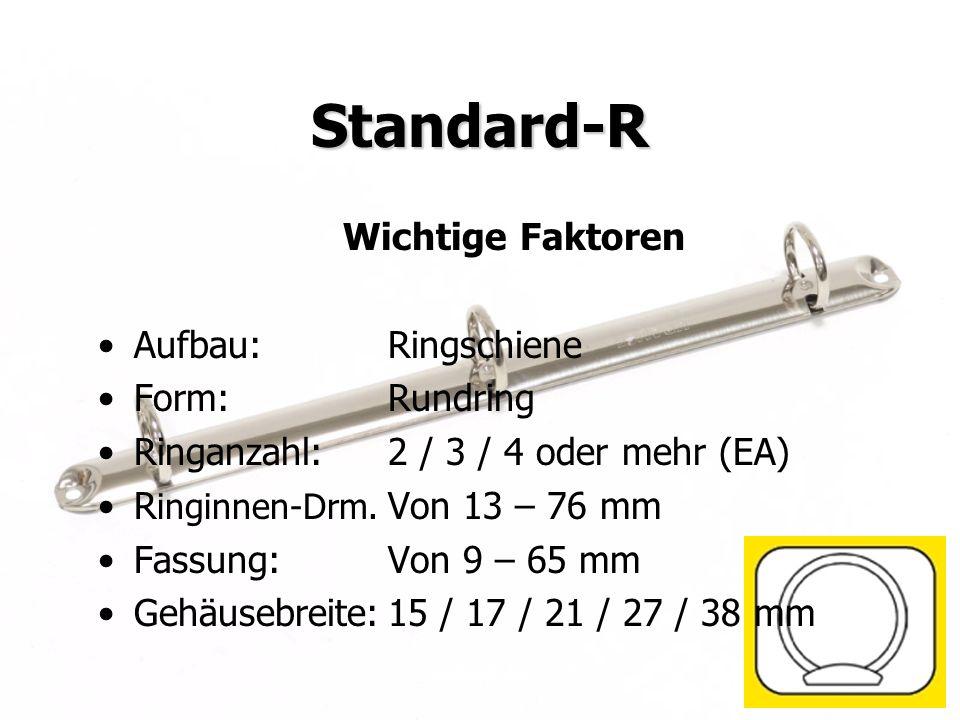 Juni 2009KRAUSE AG Standard-R Wichtige Faktoren Aufbau:Ringschiene Form:Rundring Ringanzahl:2 / 3 / 4 oder mehr (EA) R inginnen-Drm. Von 13 – 76 mm Fa