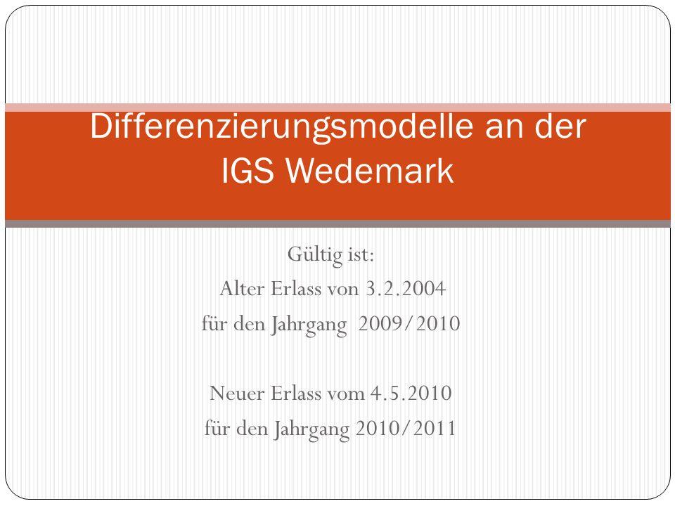 Gültig ist: Alter Erlass von 3.2.2004 für den Jahrgang 2009/2010 Neuer Erlass vom 4.5.2010 für den Jahrgang 2010/2011 Differenzierungsmodelle an der I