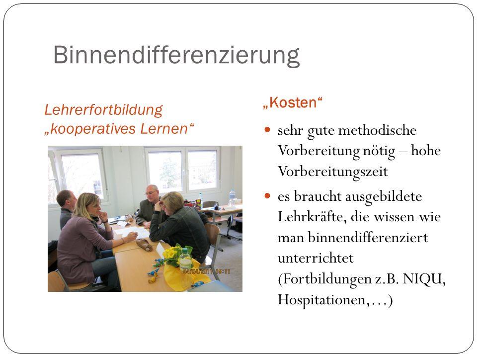 Binnendifferenzierung Lehrerfortbildung kooperatives Lernen Kosten sehr gute methodische Vorbereitung nötig – hohe Vorbereitungszeit es braucht ausgeb
