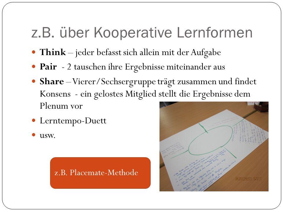 z.B. über Kooperative Lernformen Think – jeder befasst sich allein mit der Aufgabe Pair - 2 tauschen ihre Ergebnisse miteinander aus Share – Vierer/Se