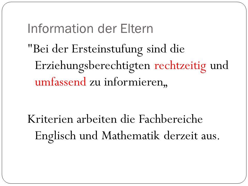 Information der Eltern