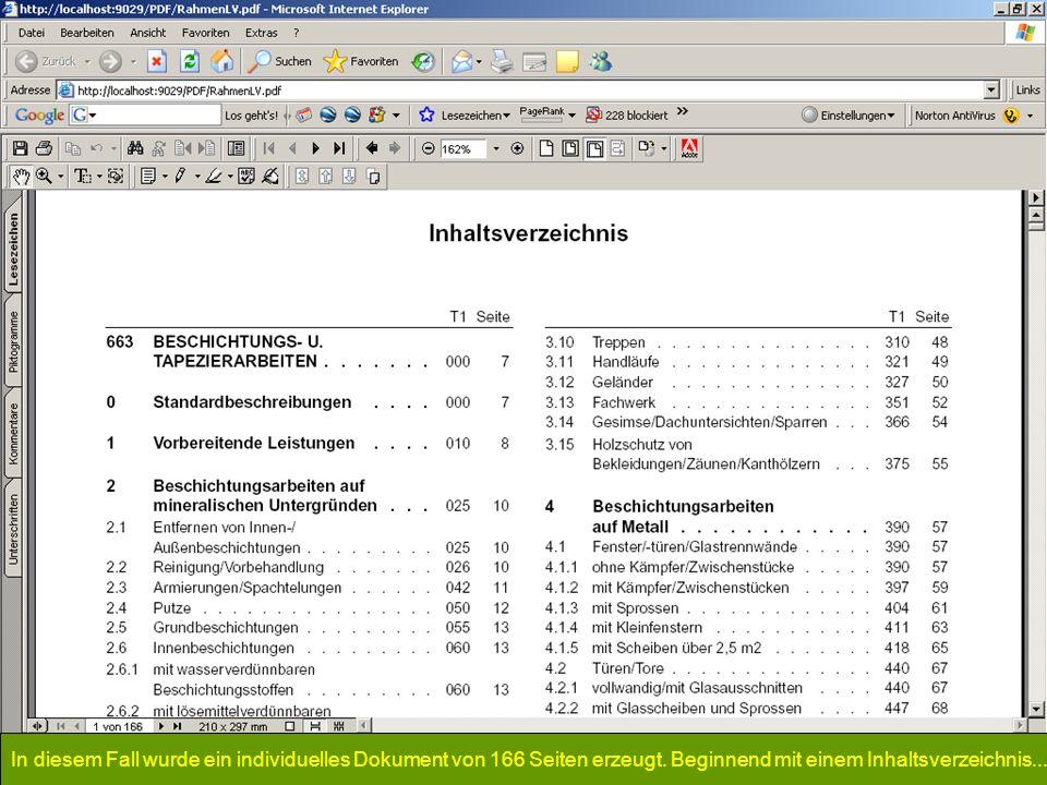 In diesem Fall wurde ein individuelles Dokument von 166 Seiten erzeugt. Beginnend mit einem Inhaltsverzeichnis...