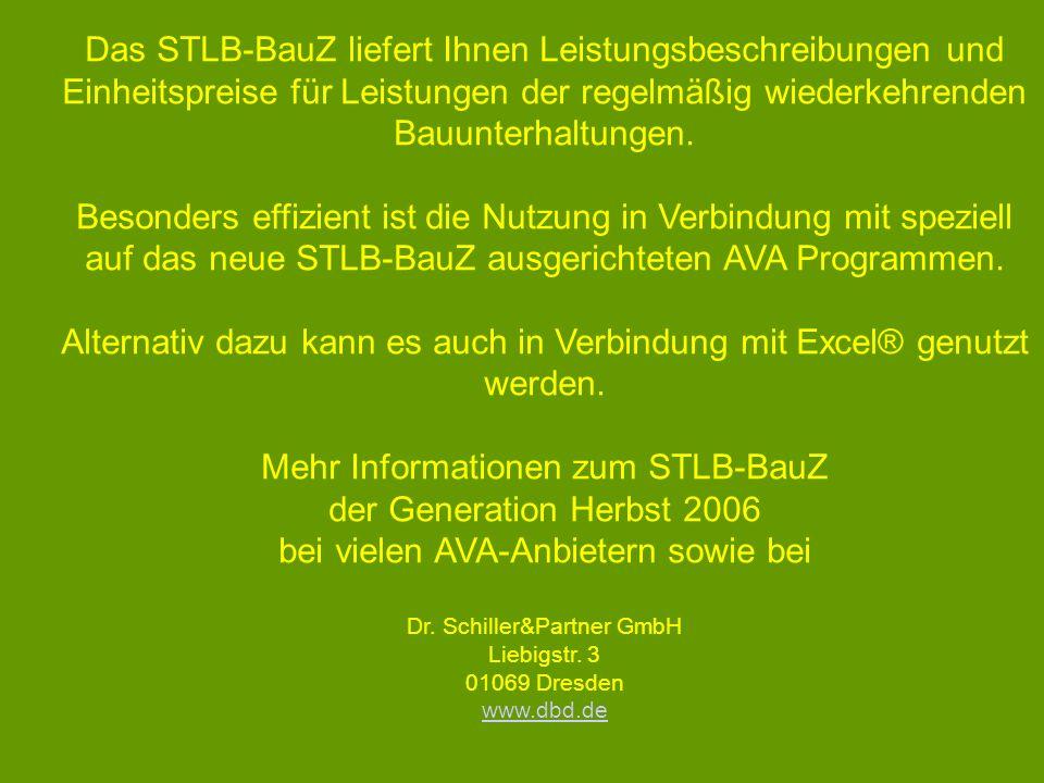 Das STLB-BauZ liefert Ihnen Leistungsbeschreibungen und Einheitspreise für Leistungen der regelmäßig wiederkehrenden Bauunterhaltungen. Besonders effi