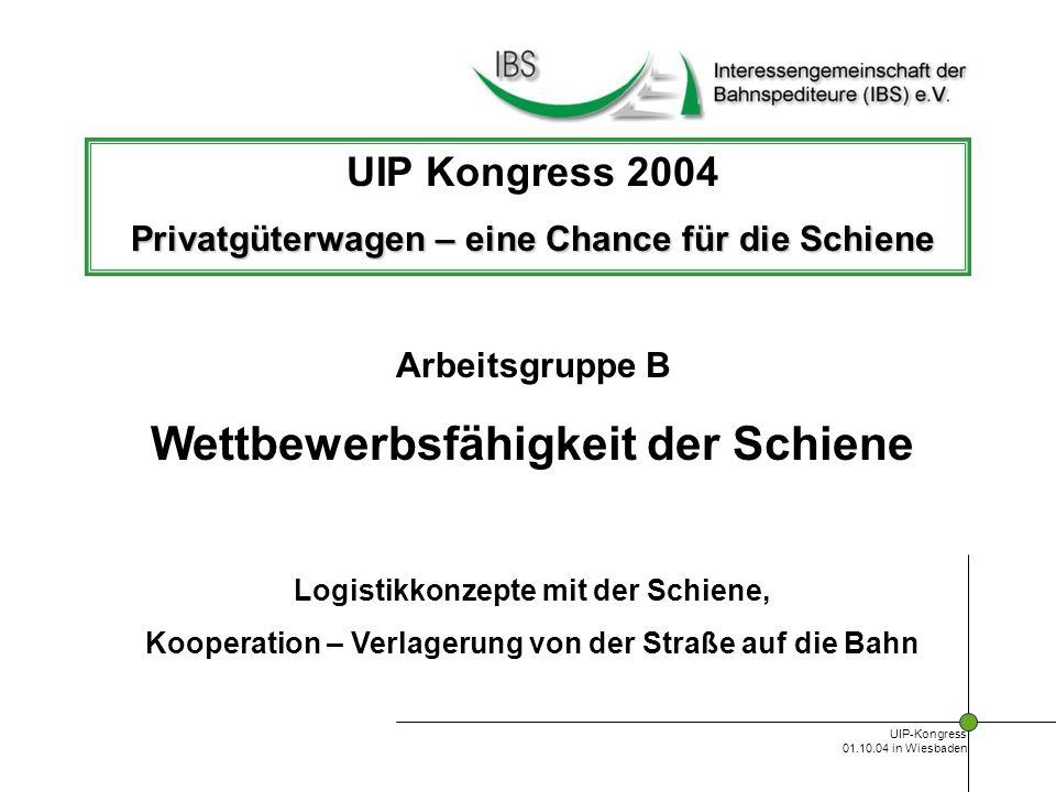 UIP-Kongress 01.10.04 in Wiesbaden Logistik auf der Schiene Technische Entwicklung Erhöhung der Einsatzvielfalt Montierbare Ladesicherung Erhöhung Laderaum und Lastgrenzen III.