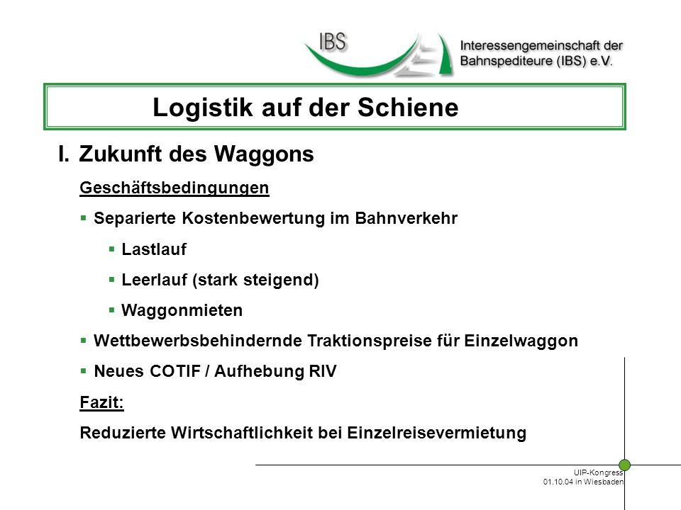 UIP-Kongress 01.10.04 in Wiesbaden Logistik auf der Schiene Kommerziell Mittel- und langfristige Anmietung Company-trains zwischen Konsolidierungspunkten KLV-Verkehre Kooperation bei Wiederbeladung Gemeinsame Dispositionssysteme III.