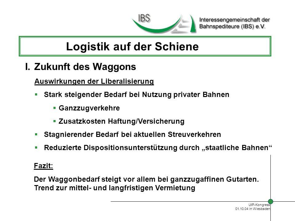 UIP-Kongress 01.10.04 in Wiesbaden Logistik auf der Schiene I.Zukunft des Waggons Konsolidierung von Einzelwaggonverkehren Schliessung von Gleisanschlüssen Verlagerung auf KLV-Ganzzüge über Hubs Alternative Sammlung/Verteilung über Konsolidierungspunkte Bündelung mit konventionellen KLV-Verkehren Entwicklung neuer Logistikprodukte auf der Schiene Fazit: Verstärkte Investitionen in KLV-Waggons Zunehmende Kooperation mit Speditionen