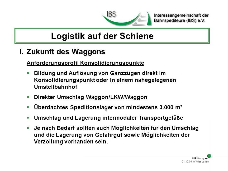 UIP-Kongress 01.10.04 in Wiesbaden Logistik auf der Schiene Rohstoff – Systemversorgung Branchen/Kunden Grosskunden mit Gleisanschluss Kraftwerke Müllverbrennungsanlagen Hauptprodukte Rohstoffe (u.a.Kohle, Eisen und Stahl/Holz) Recyclingprodukte II.Logistik - Produkte