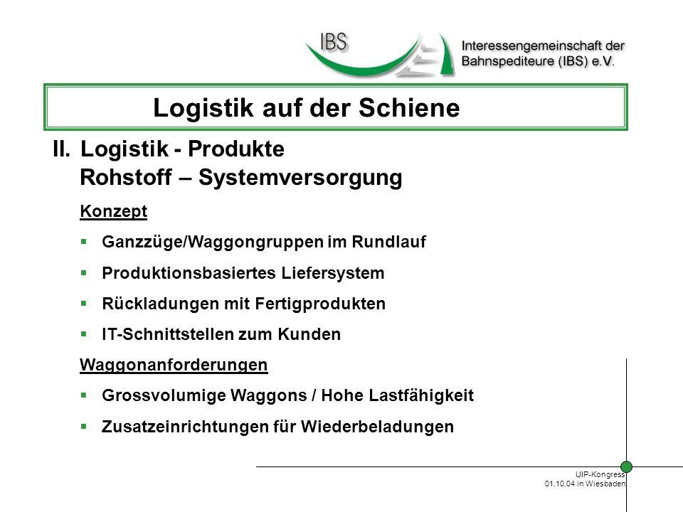 UIP-Kongress 01.10.04 in Wiesbaden Logistik auf der Schiene Versorgung von Handelsketten Branchen/Kunden Großhändler Handelsketten Hauptprodukte Hygienepapier Lebensmittel Getränke Textilien/Schuhe II.Logistik - Produkte