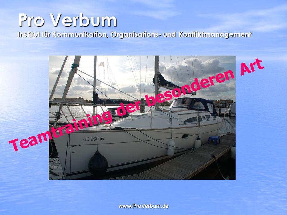 www.ProVerbum.de Pro Verbum Institut für Kommunikation, Organisations- und Konfliktmanagement Teamtraining der besonderen Art