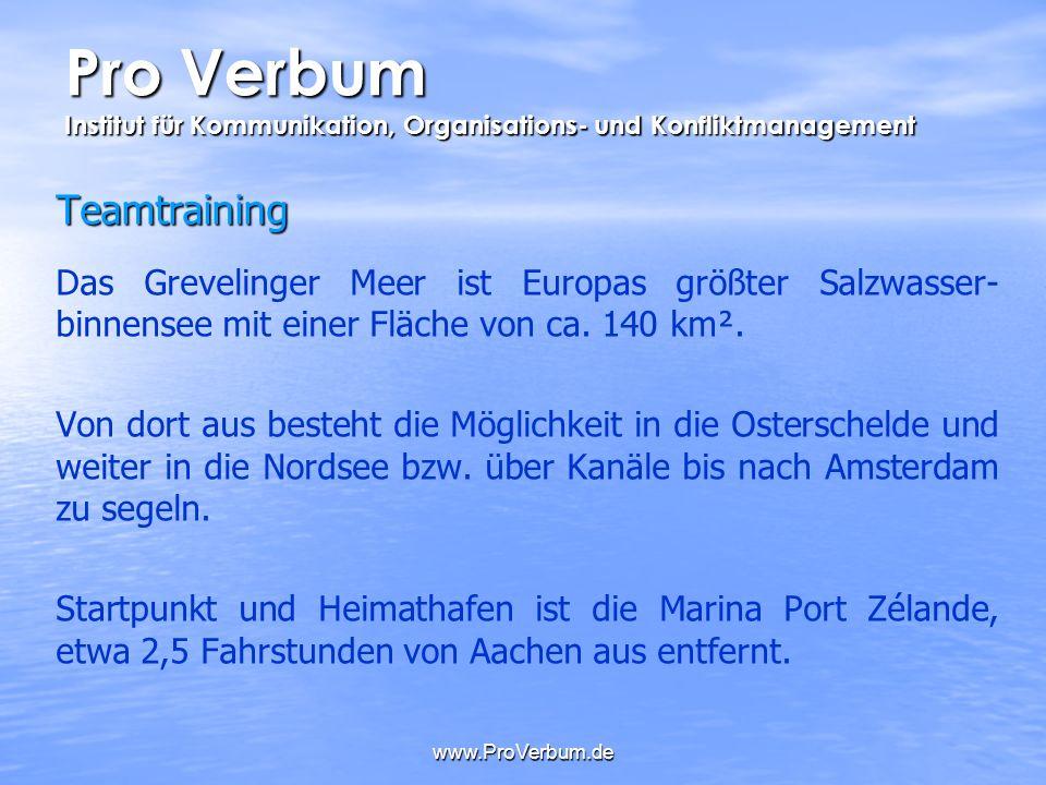 www.ProVerbum.de Teamtraining Das Grevelinger Meer ist Europas größter Salzwasser- binnensee mit einer Fläche von ca. 140 km². Von dort aus besteht di