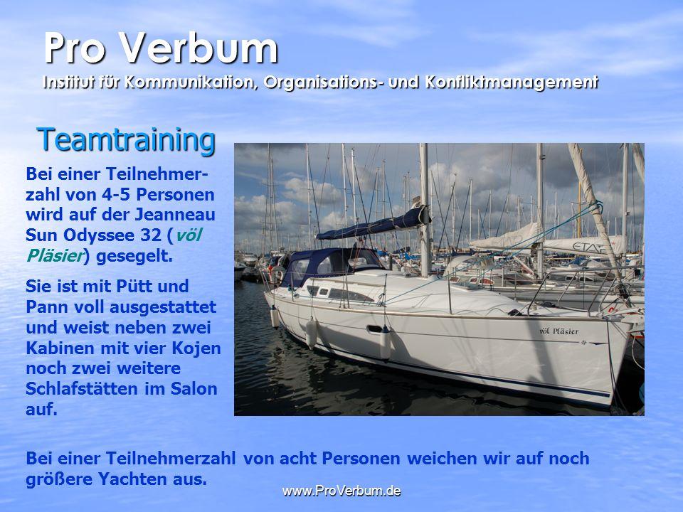 www.ProVerbum.de Teamtraining Bei einer Teilnehmer- zahl von 4-5 Personen wird auf der Jeanneau Sun Odyssee 32 (völ Pläsier) gesegelt. Sie ist mit Püt