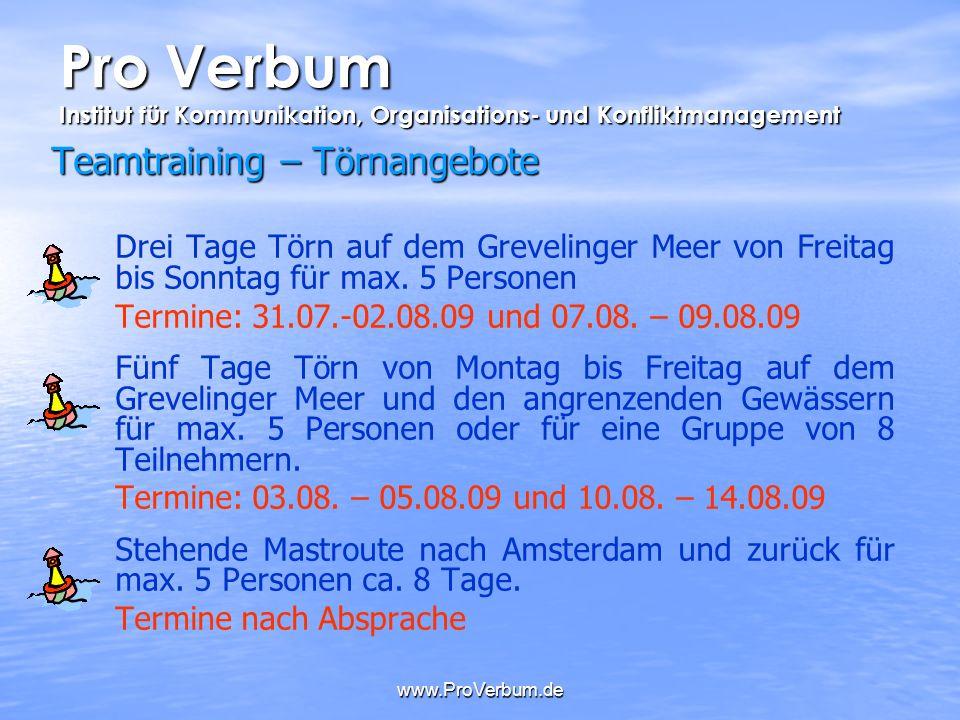 www.ProVerbum.de Teamtraining – Törnangebote Drei Tage Törn auf dem Grevelinger Meer von Freitag bis Sonntag für max. 5 Personen Termine: 31.07.-02.08