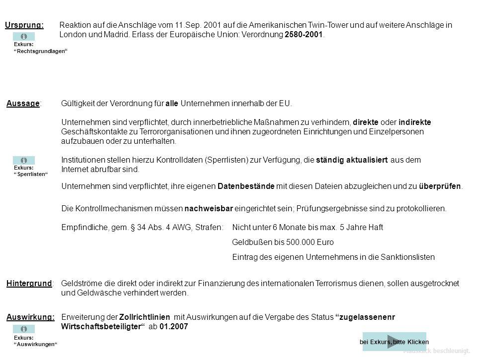 Mausklick beschleunigt. Informiert zum Thema: EU-Verordnung 2580/2001 und 882/2002 zugelassener Wirtschaftsbeteiligter