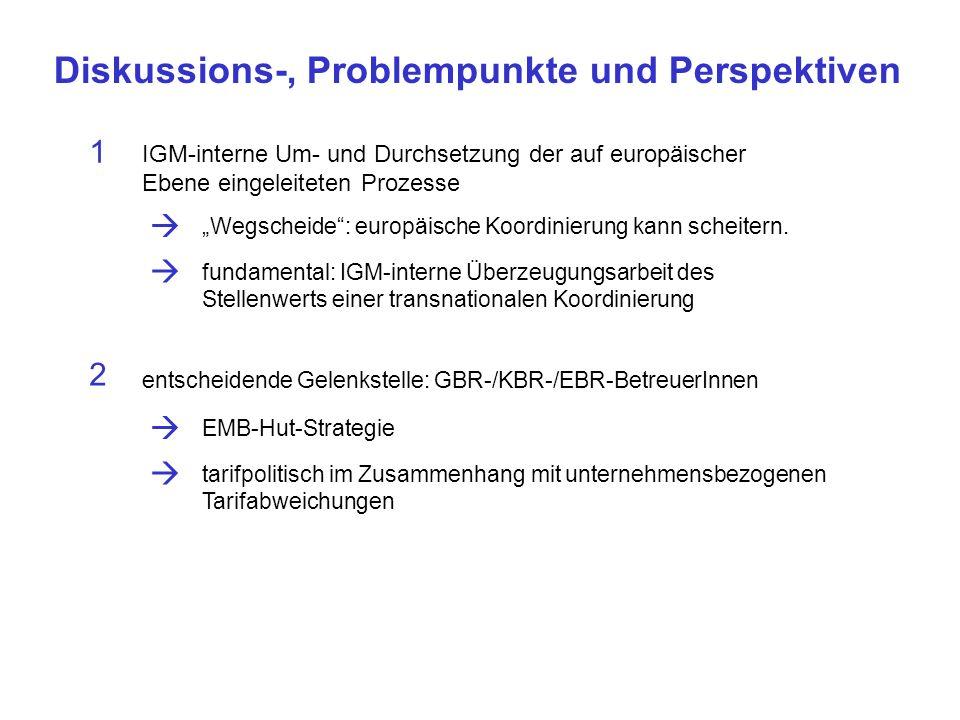 Diskussions-, Problempunkte und Perspektiven IGM-interne Um- und Durchsetzung der auf europäischer Ebene eingeleiteten Prozesse 1 Wegscheide: europäische Koordinierung kann scheitern.