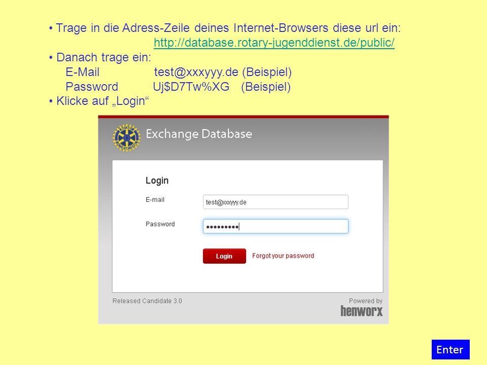 Klicke auf den Button Application Form Enter