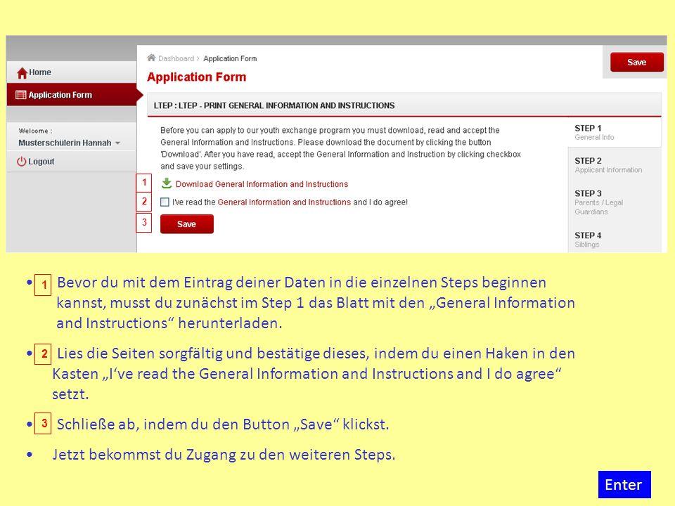 Bevor du mit dem Eintrag deiner Daten in die einzelnen Steps beginnen kannst, musst du zunächst im Step 1 das Blatt mit den General Information and In