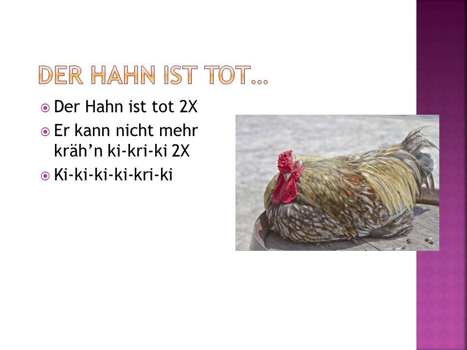 Da ist ein Hahn, und noch ein Hahn, die schauen sich mit großen Augen an dann probieren sie, wer besser krähen kann: Kikeriki kikerikiiiiii.