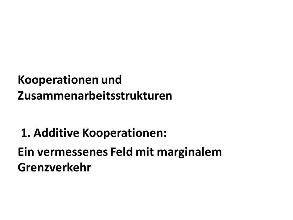 Kooperationen und Zusammenarbeitsstrukturen 1. Additive Kooperationen: Ein vermessenes Feld mit marginalem Grenzverkehr