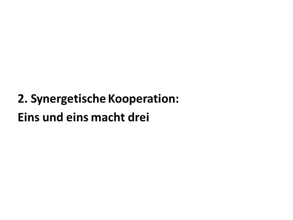 2. Synergetische Kooperation: Eins und eins macht drei