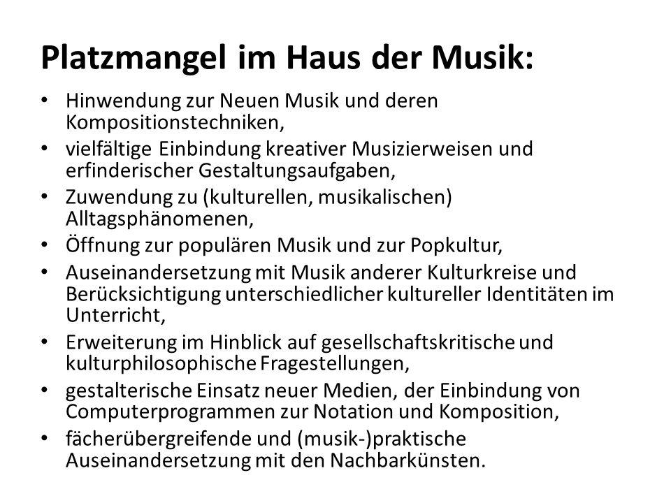 Platzmangel im Haus der Musik: Hinwendung zur Neuen Musik und deren Kompositionstechniken, vielfältige Einbindung kreativer Musizierweisen und erfinde
