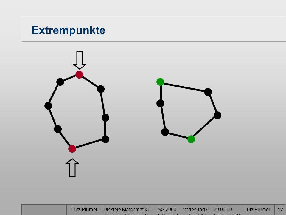 Lutz Plümer - Diskrete Mathematik II - SS 2000 - Vorlesung 9 - 29.06.00 Lutz Plümer - Diskrete Mathematik - 2. Semester - SS 2001 - Vorlesung 9 12 Ext