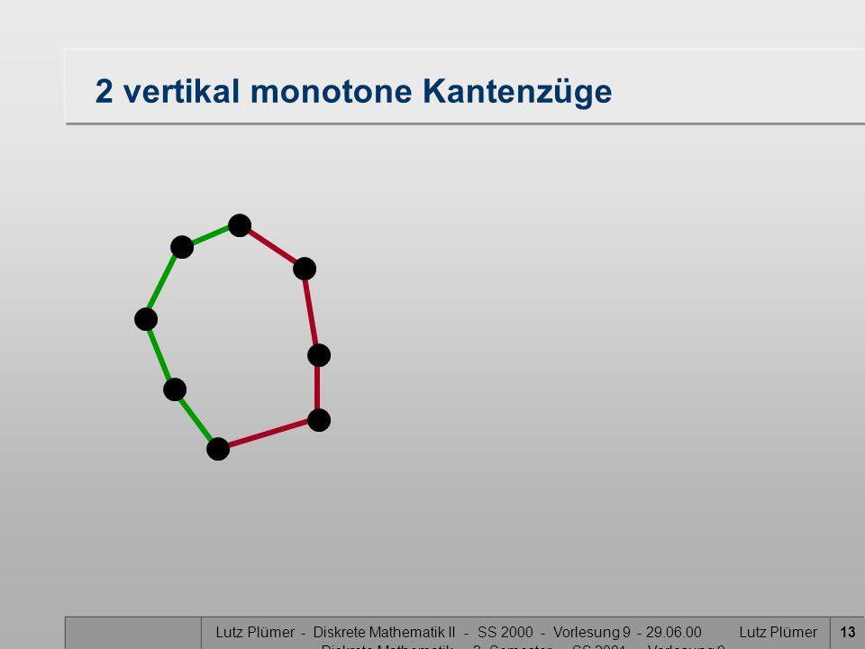 Lutz Plümer - Diskrete Mathematik II - SS 2000 - Vorlesung 9 - 29.06.00 Lutz Plümer - Diskrete Mathematik - 2. Semester - SS 2001 - Vorlesung 9 13 2 v