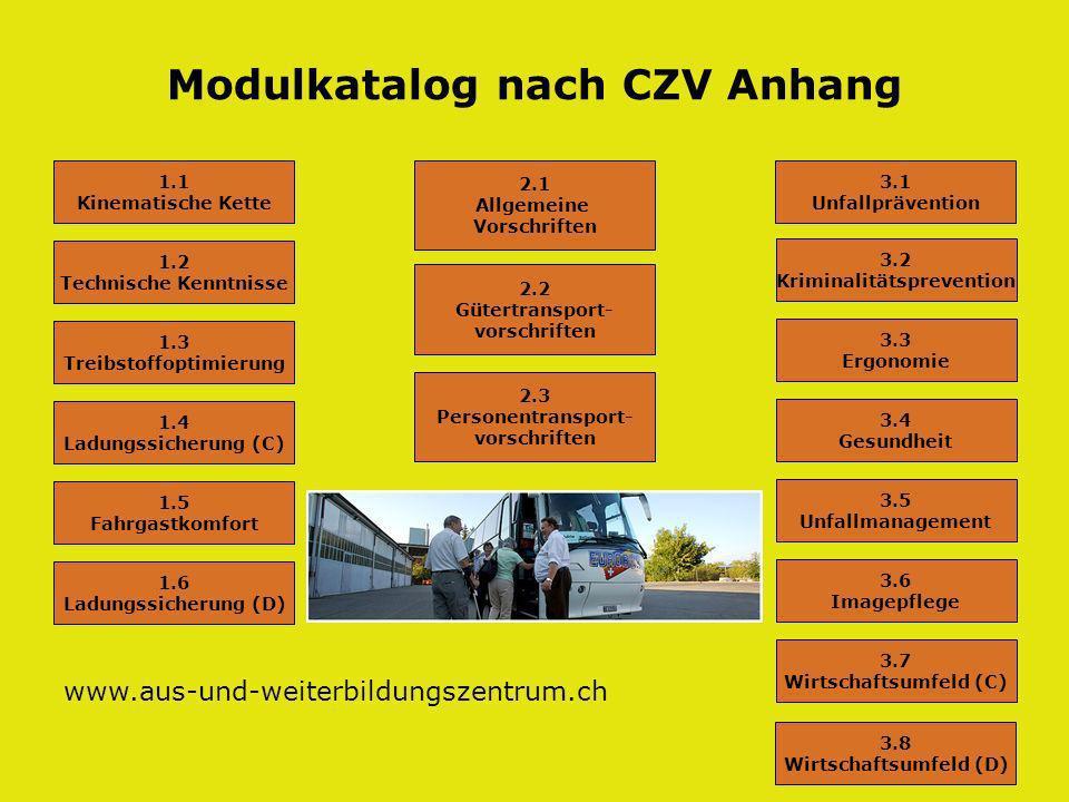 Modulkatalog nach CZV Anhang 1.1 Kinematische Kette 1.2 Technische Kenntnisse 1.4 Ladungssicherung (C) 1.5 Fahrgastkomfort 1.6 Ladungssicherung (D) 1.3 Treibstoffoptimierung 2.1 Allgemeine Vorschriften 3.1 Unfallprävention 2.2 Gütertransport- vorschriften 2.3 Personentransport- vorschriften 3.2 Kriminalitätsprevention 3.3 Ergonomie 3.5 Unfallmanagement 3.6 Imagepflege 3.7 Wirtschaftsumfeld (C) 3.4 Gesundheit 3.8 Wirtschaftsumfeld (D) www.aus-und-weiterbildungszentrum.ch