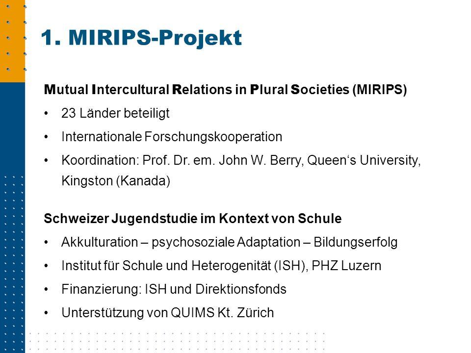 M utual I ntercultural R elations in P lural S ocieties (MIRIPS) 23 Länder beteiligt Internationale Forschungskooperation Koordination: Prof. Dr. em.
