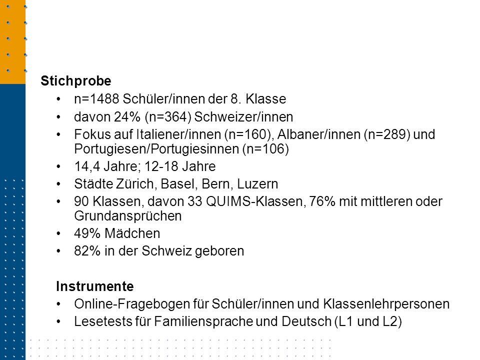 n=1488 Schüler/innen der 8. Klasse davon 24% (n=364) Schweizer/innen Fokus auf Italiener/innen (n=160), Albaner/innen (n=289) und Portugiesen/Portugie