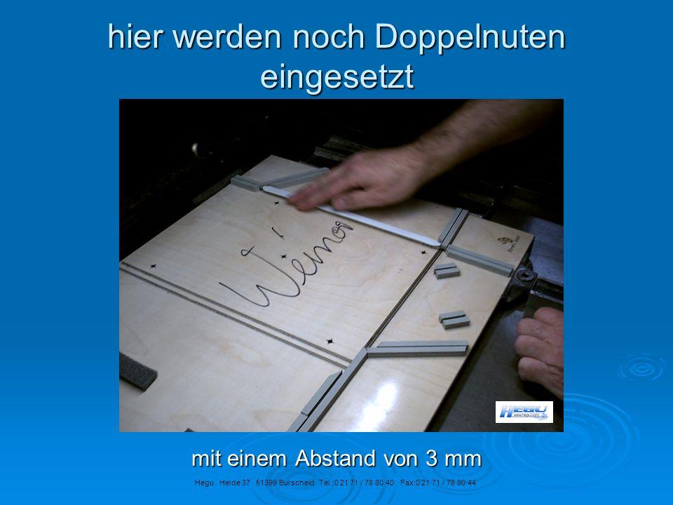 hier werden noch Doppelnuten eingesetzt mit einem Abstand von 3 mm Hegu Heide 37 51399 Burscheid Tel.:0 21 71 / 78 80 40 Fax:0 21 71 / 78 80 44
