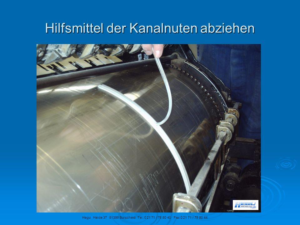 Hilfsmittel der Kanalnuten abziehen Hegu Heide 37 51399 Burscheid Tel.:0 21 71 / 78 80 40 Fax:0 21 71 / 78 80 44