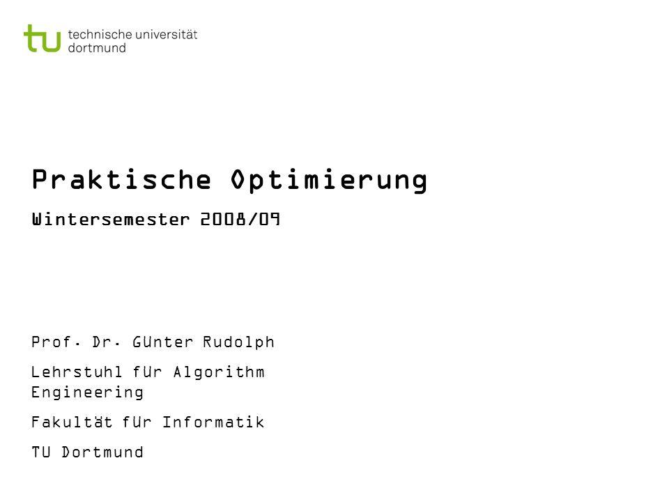 Praktische Optimierung Wintersemester 2008/09 Prof. Dr. Günter Rudolph Lehrstuhl für Algorithm Engineering Fakultät für Informatik TU Dortmund