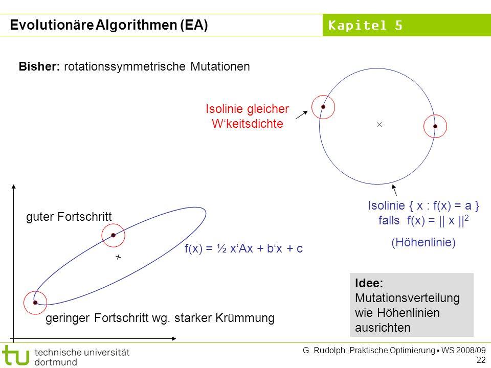 Kapitel 5 G. Rudolph: Praktische Optimierung WS 2008/09 22 Bisher: rotationssymmetrische Mutationen Isolinie { x : f(x) = a } falls f(x) = || x || 2 (