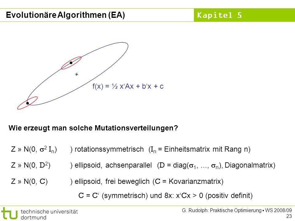 Kapitel 5 G. Rudolph: Praktische Optimierung WS 2008/09 23 f(x) = ½ xAx + bx + c Wie erzeugt man solche Mutationsverteilungen? Z » N(0, 2 I n )) rotat