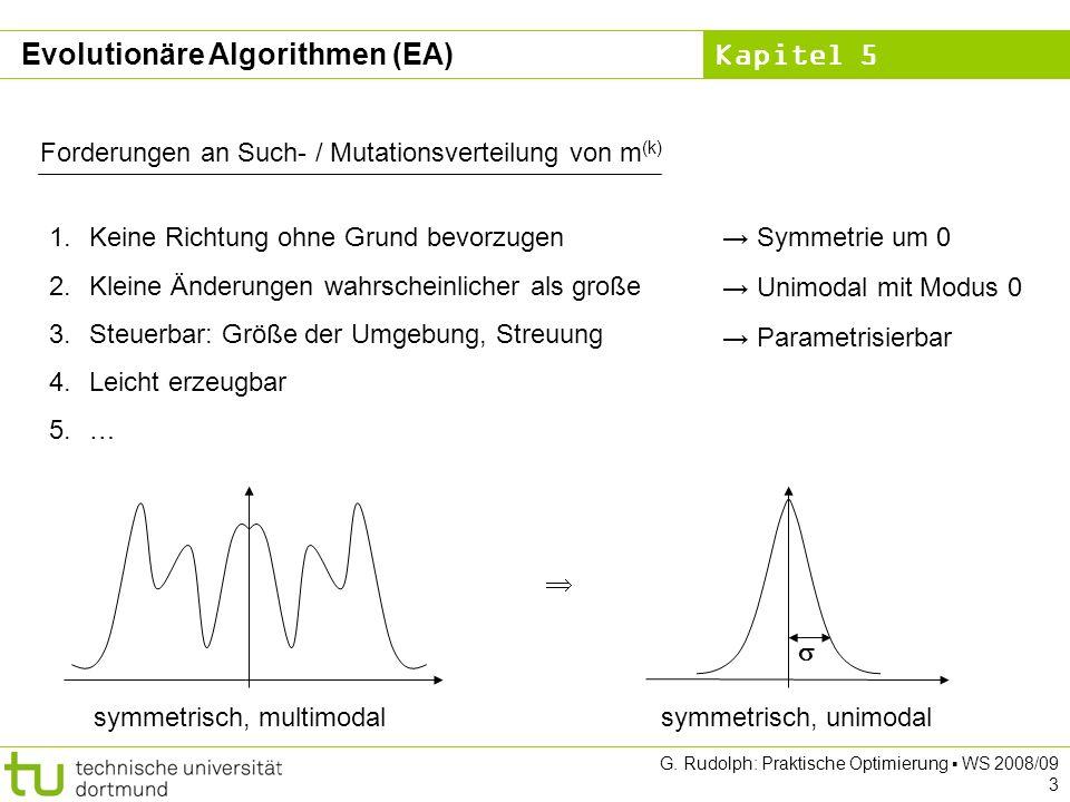 Kapitel 5 G. Rudolph: Praktische Optimierung WS 2008/09 3 Forderungen an Such- / Mutationsverteilung von m (k) 1.Keine Richtung ohne Grund bevorzugen