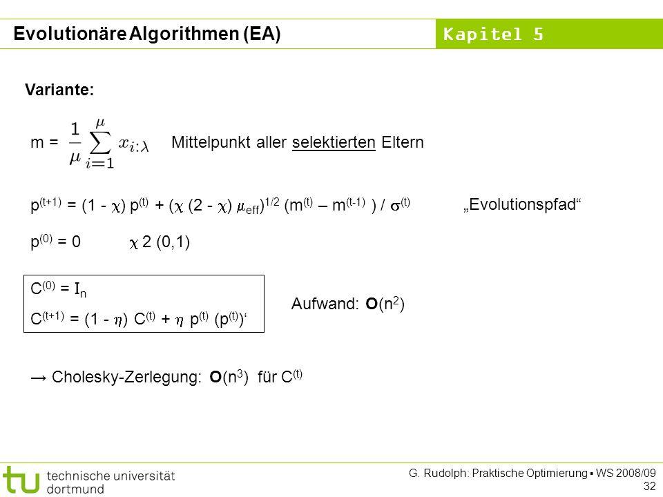 Kapitel 5 G. Rudolph: Praktische Optimierung WS 2008/09 32 m = Mittelpunkt aller selektierten Eltern Variante: p (t+1) = (1 - ) p (t) + ( (2 - ) eff )