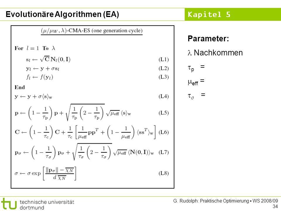 Kapitel 5 G. Rudolph: Praktische Optimierung WS 2008/09 34 Evolutionäre Algorithmen (EA) Parameter: Nachkommen p = eff = =