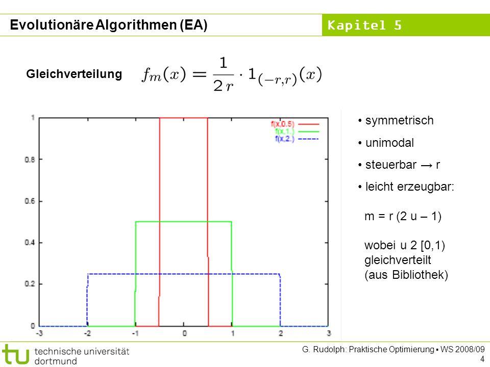 Kapitel 5 G. Rudolph: Praktische Optimierung WS 2008/09 4 Gleichverteilung symmetrisch unimodal steuerbar r leicht erzeugbar: m = r (2 u – 1) wobei u
