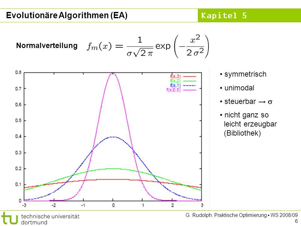 Kapitel 5 G. Rudolph: Praktische Optimierung WS 2008/09 6 Normalverteilung symmetrisch unimodal steuerbar nicht ganz so leicht erzeugbar (Bibliothek)