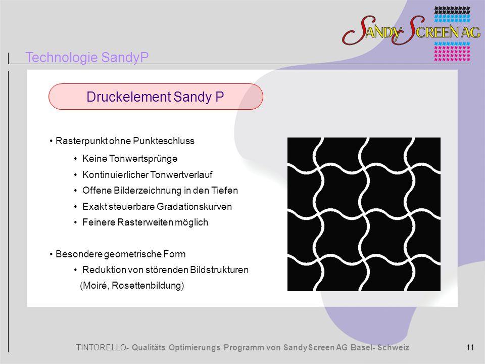TINTORELLO- Qualitäts Optimierungs Programm von SandyScreen AG Basel- Schweiz Rasterpunkt ohne Punkteschluss Keine Tonwertsprünge Kontinuierlicher Ton
