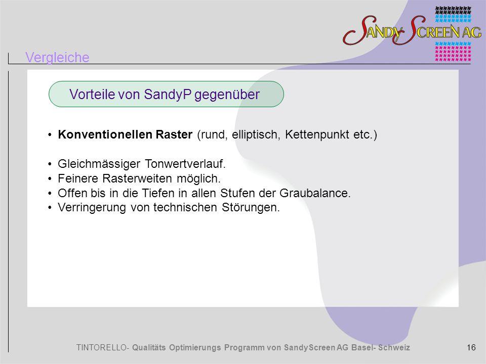 TINTORELLO- Qualitäts Optimierungs Programm von SandyScreen AG Basel- Schweiz Vergleiche Vorteile von SandyP gegenüber Konventionellen Raster (rund, e