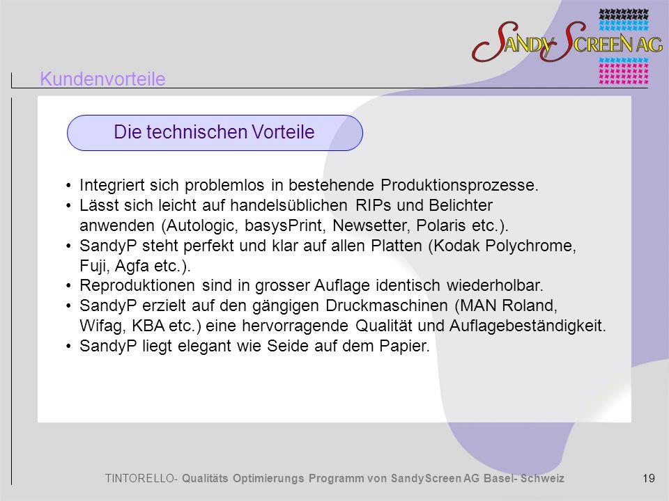 TINTORELLO- Qualitäts Optimierungs Programm von SandyScreen AG Basel- Schweiz Kundenvorteile Die technischen Vorteile Integriert sich problemlos in be