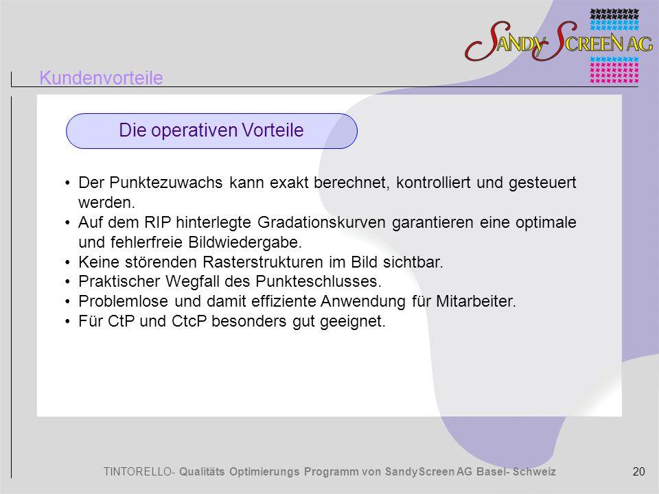TINTORELLO- Qualitäts Optimierungs Programm von SandyScreen AG Basel- Schweiz Kundenvorteile Die operativen Vorteile Der Punktezuwachs kann exakt bere