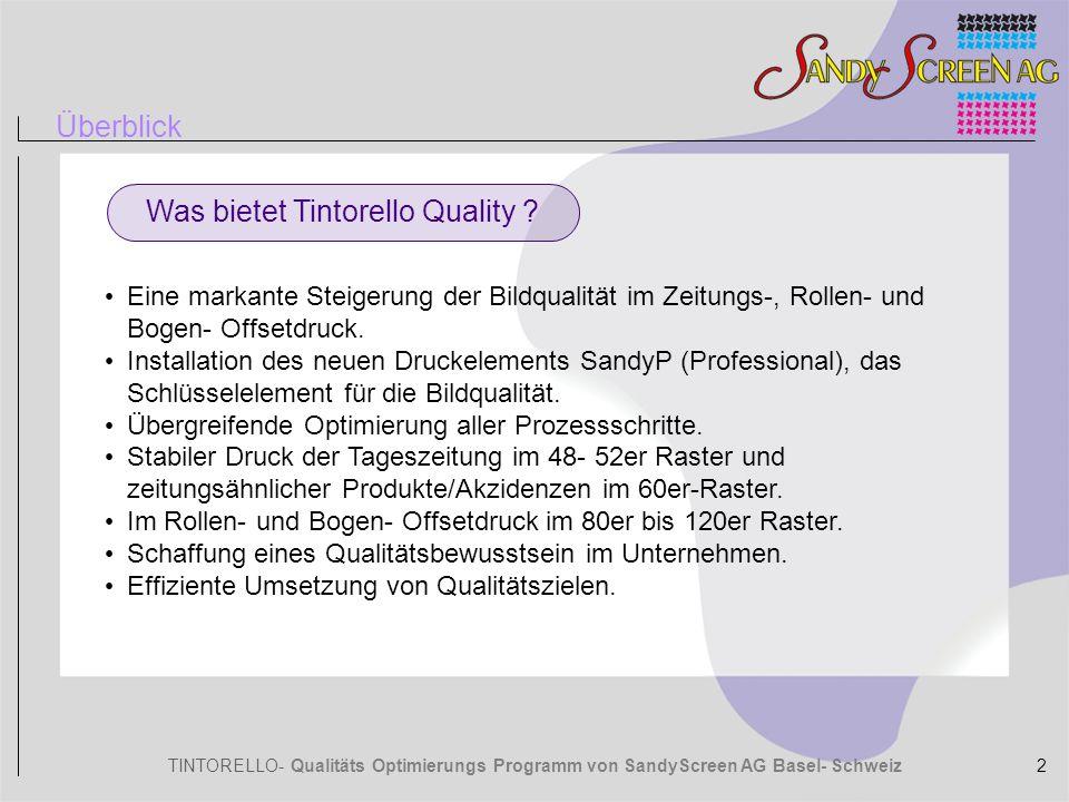 TINTORELLO- Qualitäts Optimierungs Programm von SandyScreen AG Basel- Schweiz Technische Optimierung der bestehenden Bildverarbeitungsprozesse in Bezug auf Reprogeräte-Kalibrierung, Ausgabe-Profile, Installation von Sandy P auf dem RIP, Optimierung der Gradationskurven, Einführung von Druck-Kontrollmassnahmen.