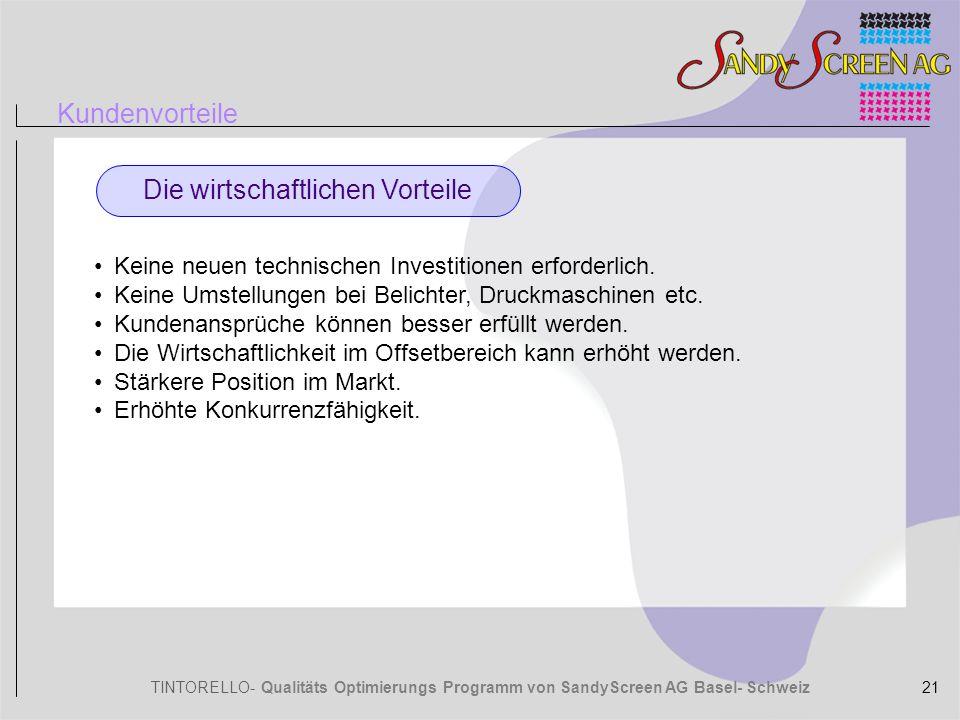 TINTORELLO- Qualitäts Optimierungs Programm von SandyScreen AG Basel- Schweiz Kundenvorteile Die wirtschaftlichen Vorteile Keine neuen technischen Inv