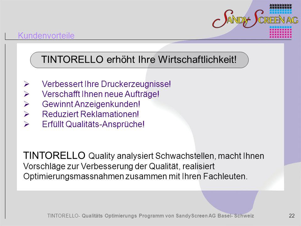 TINTORELLO- Qualitäts Optimierungs Programm von SandyScreen AG Basel- Schweiz Kundenvorteile TINTORELLO erhöht Ihre Wirtschaftlichkeit! Verbessert Ihr