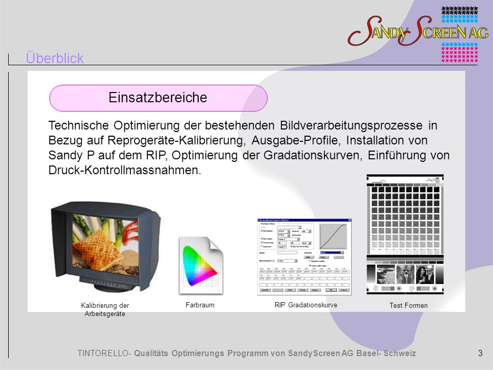 TINTORELLO- Qualitäts Optimierungs Programm von SandyScreen AG Basel- Schweiz DateneingangRasterungTechnik Fotografen SandyP CTF Bildbearbeitung Gradationskurven CTcP CTP Druck Optimierungskonzept Optimierung des gesamten Workflows 4