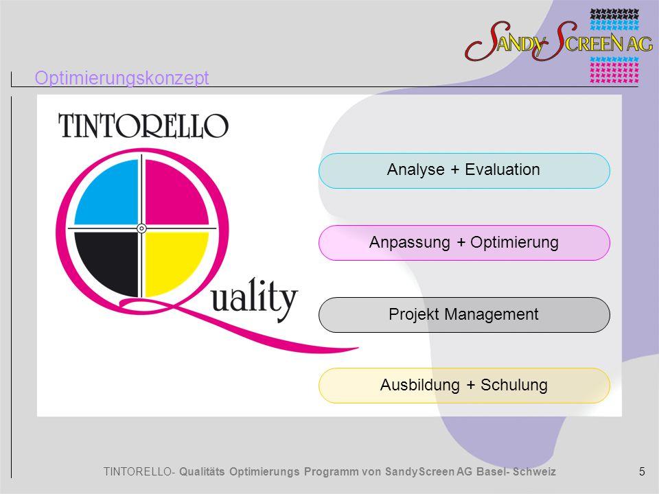 TINTORELLO- Qualitäts Optimierungs Programm von SandyScreen AG Basel- Schweiz Optimierungskonzept Analyse des bestehenden Qualitätszustands und der Parameter.