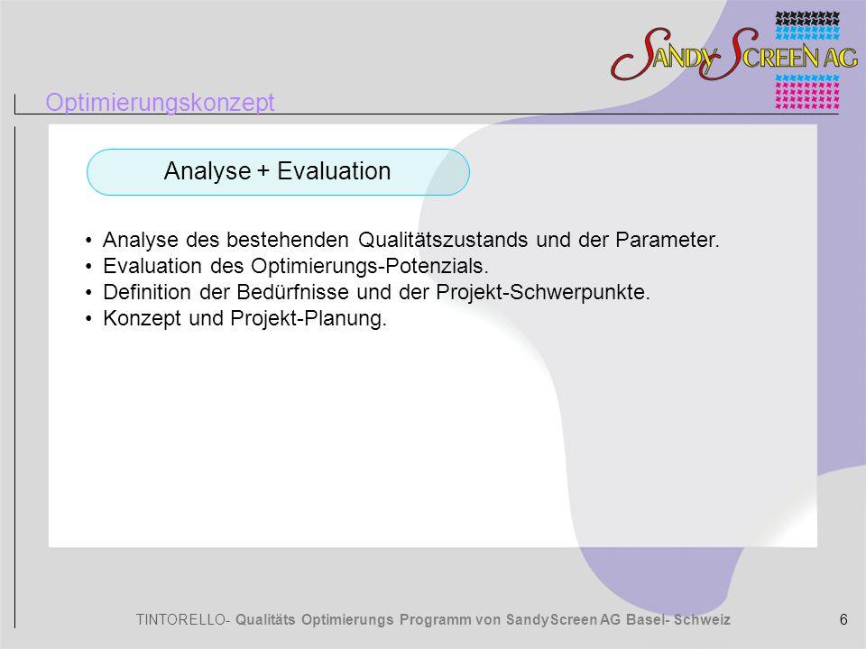 TINTORELLO- Qualitäts Optimierungs Programm von SandyScreen AG Basel- Schweiz Optimierungskonzept Installation des SandyP Druckelements.